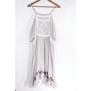NWT ModCloth BoHo Midi Dress Cream